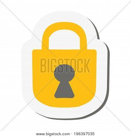 Sticker padlock isolated on white background. Icon. Vector illustration.