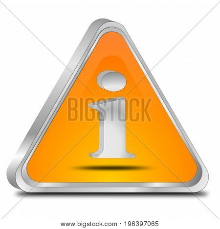glossy orange Information Button - 3D illustration