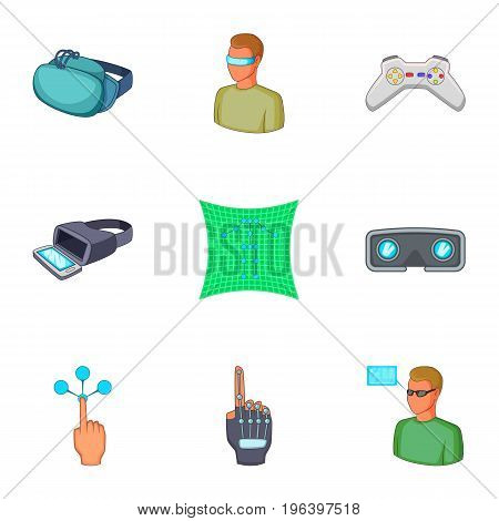 VR icons set. Cartoon set of 9 VR vector icons for web isolated on white background