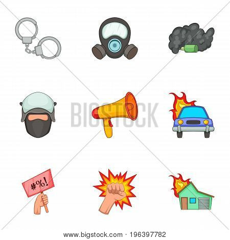 Public disorder icons set. Cartoon set of 9 public disorder vector icons for web isolated on white background