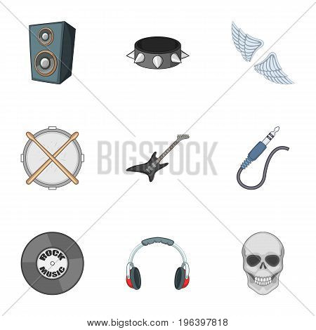 Rock music concert icons set. Cartoon set of 9 rock music concert vector icons for web isolated on white background