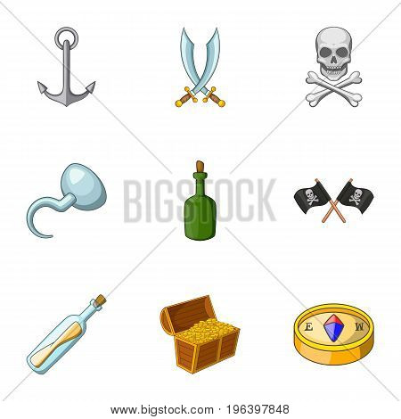 Pirate icons set. Cartoon set of 9 pirate vector icons for web isolated on white background