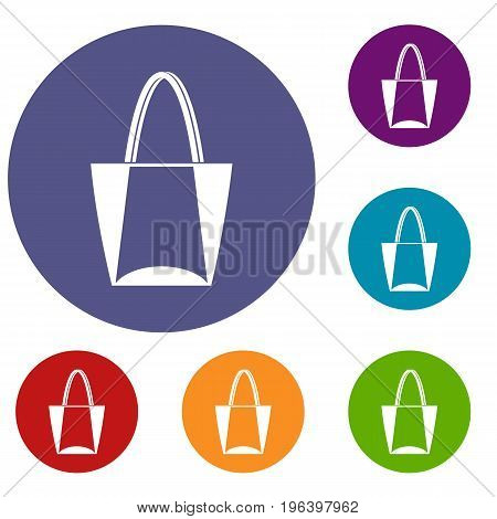 Big bag icons set in flat circle red, blue and green color for web