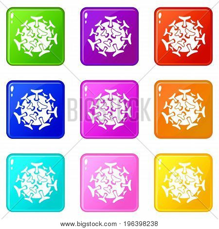 Round viral bacteria icons of 9 color set isolated vector illustration