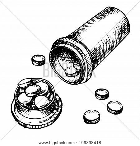Hand drawn medicine pills, tablet, capsule and package bottle isolated on white background. Pills cartoon