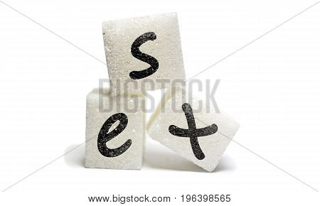 Sex writed on sugar cube isolated on withe background