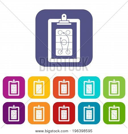 Game plan icons set vector illustration in flat style in colors red, blue, green, and other