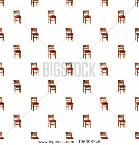 Wooden chair pattern seamless repeat in cartoon style vector illustration