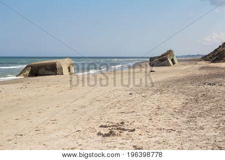 German World War II concrete bunkers, Skiveren beach in Vendsyssel, Denmark