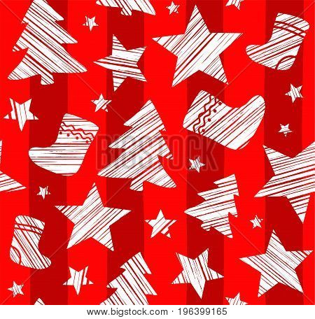 Christmas background, sock, star, tree, seamless, red, vector. White Christmas trees, socks and stars are drawn with a diagonal bar on a red striped background.