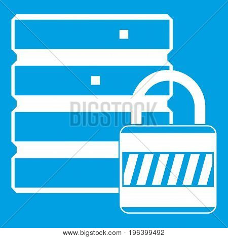 Database with padlock icon white isolated on blue background vector illustration