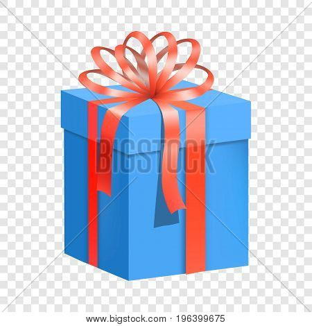 Blue gift box with red ribbon icon. Flat illustration of blue gift box with red ribbon vector icon for web
