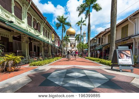 SINGAPORE - MARCH 22 2017: Beautiful way with many restaurants to Masjid Sultan Mosque in Kampong Glam district of Rochor Planning Area in Singapore