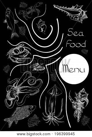 Hand drawn Seafood set. Octopus, fish, oysters, crab, shellfish and mussels. Vector illustration in old ink style.