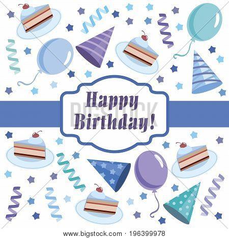 Happy birthday. Greeting card. Color vector illustration