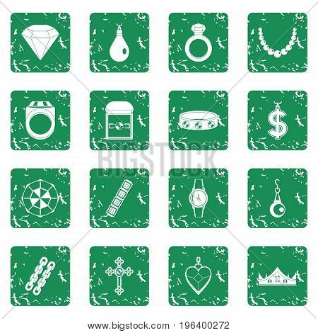 Jewelry items icons set in grunge style green isolated vector illustration