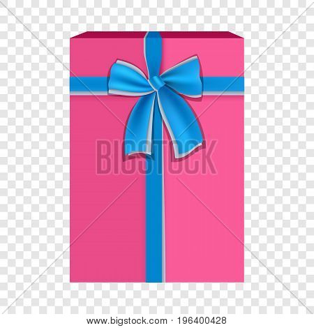 Pink gift box with blue ribbon icon. Flat illustration of pink gift box with blue ribbon vector icon for web