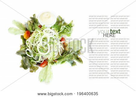 Healthy food salad recipe on white background with sample text.