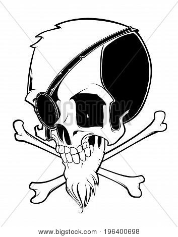 Pirate skull with crossbones isolated on white background