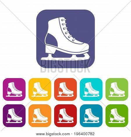 Ice skate icons set vector illustration in flat style in colors red, blue, green, and other