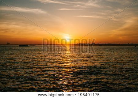 A beautiful sunset view of the Bosphorus in and the city of Istanbul in Turkey. Panorama.