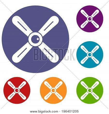 Propeller icons set in flat circle red, blue and green color for web