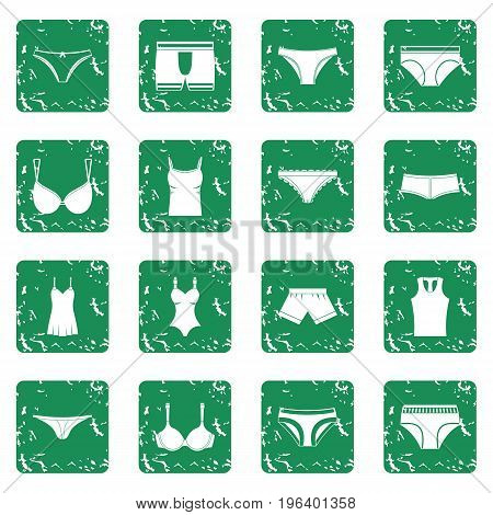 Underwear items icons set in grunge style green isolated vector illustration