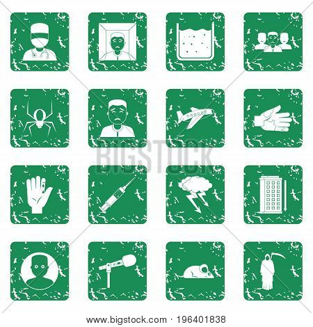 Phobia symbols icons set in grunge style green isolated vector illustration