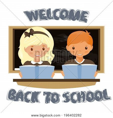 Children sitting at the Desk . Welcome to the school. The return to school. Stock vector.