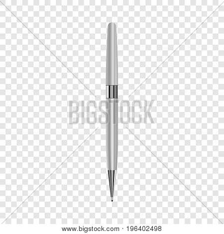 Luxury metallic pen mockup. Realistic illustration of luxury metallic pen vector mockup for web