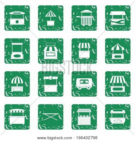 Street food truck icons set in grunge style green isolated vector illustration