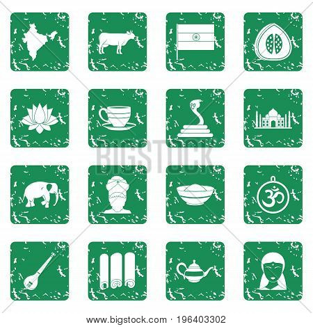 India travel icons set in grunge style green isolated vector illustration