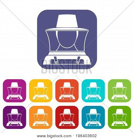 Beekeeper icons set vector illustration in flat style in colors red, blue, green, and other