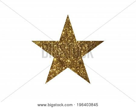 The vector golden glitter review star icon on white background