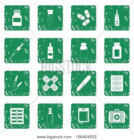 Different drugs icons set in grunge style green isolated vector illustration