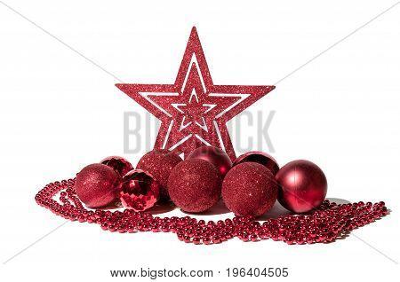 Shining star and balls for holidays. Christmas decoration. Selective focus.