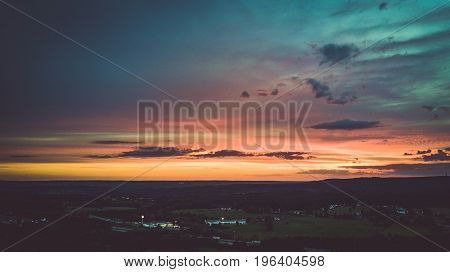Drone Flight And Topview In The Summer Sunset Above The Are Of Aachen With Its Flields, Forest And M
