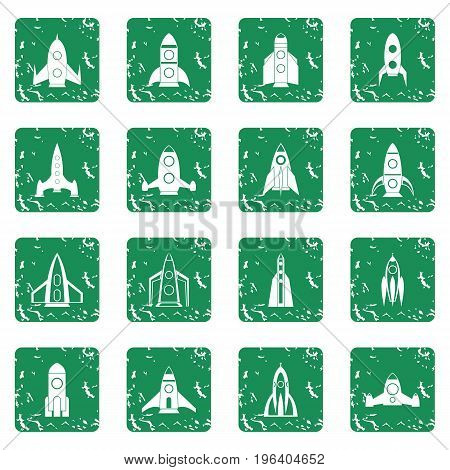 Rocket icons set in grunge style green isolated vector illustration