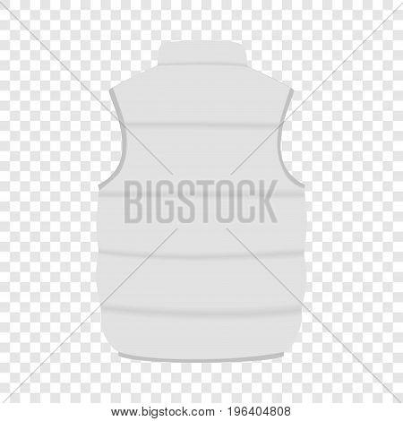 Back of white warm vest mockup. Realistic illustration of back of white warm vest vector mockup for web