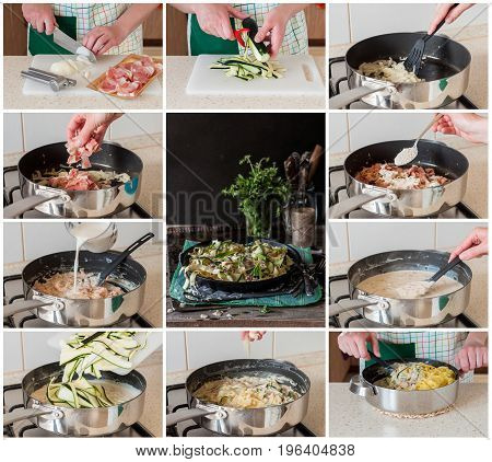 A Step By Step Collage Of Making Fettuccine Alfredo