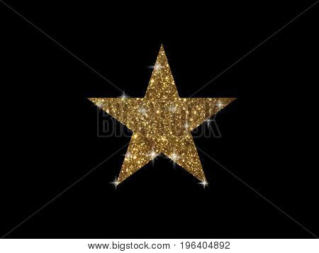 The vector golden glitter review star icon on black background