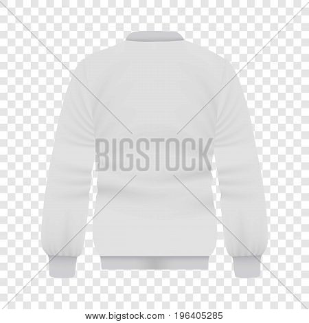 Back of white baseball jacket mockup. Realistic illustration of back of white baseball jacket vector mockup for web