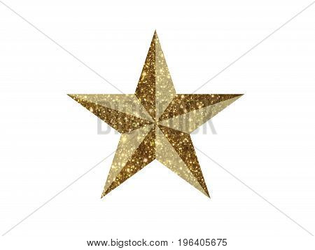 The vector golden glitter 3D review star icon on white background