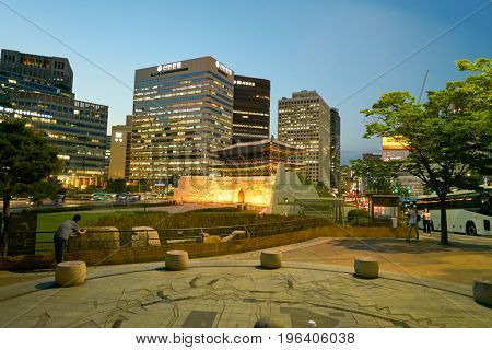 SEOUL, SOUTH KOREA - CIRCA MAY, 2017: Namdaemun Gate in Seoul. Namdaemun is one of the Eight Gates in the Fortress Wall of Seoul, which surrounded the city in the Joseon dynasty.