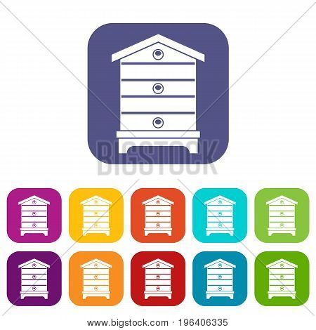 Hive icons set vector illustration in flat style in colors red, blue, green, and other