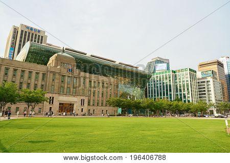 SEOUL, SOUTH KOREA - CIRCA MAY, 2017: Seoul urban landscape. Seoul Special City is the capital and largest metropolis of the Republic of Korea.
