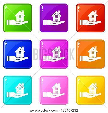 House in hand icons of 9 color set isolated vector illustration