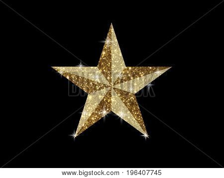 The vector golden glitter 3D review star icon on black background