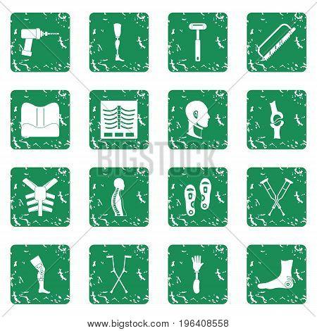Orthopedics prosthetics icons set in grunge style green isolated vector illustration