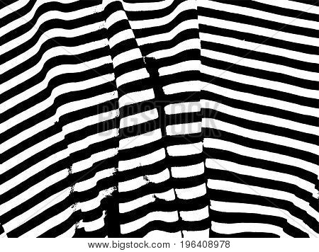 Abstract black and white pattern with irregular lines and  streaks. Design elements for brushes, backgrounds, backdrops, Wallpapers, print. Contrasting horizontal stripes. Vector illustration